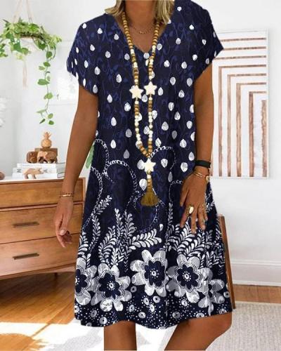 Boho A-Line Tribal Casual Short Sleeve Dresses