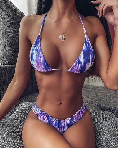 Tie Dye Triangle Cheeky Bikini Swimsuit