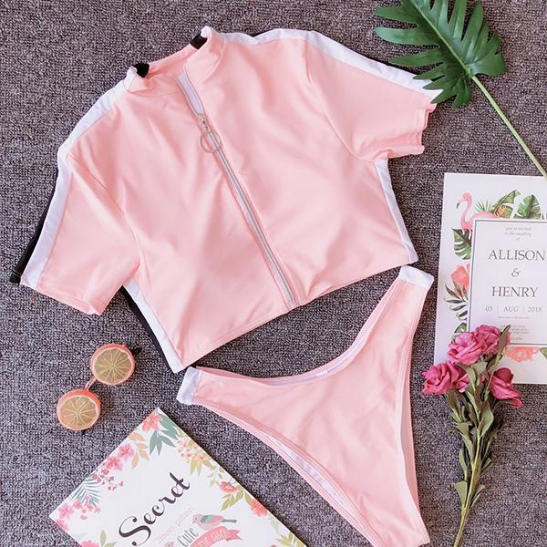 Sexy Zipper Short Sleeve Split Two-piece Swimsuit