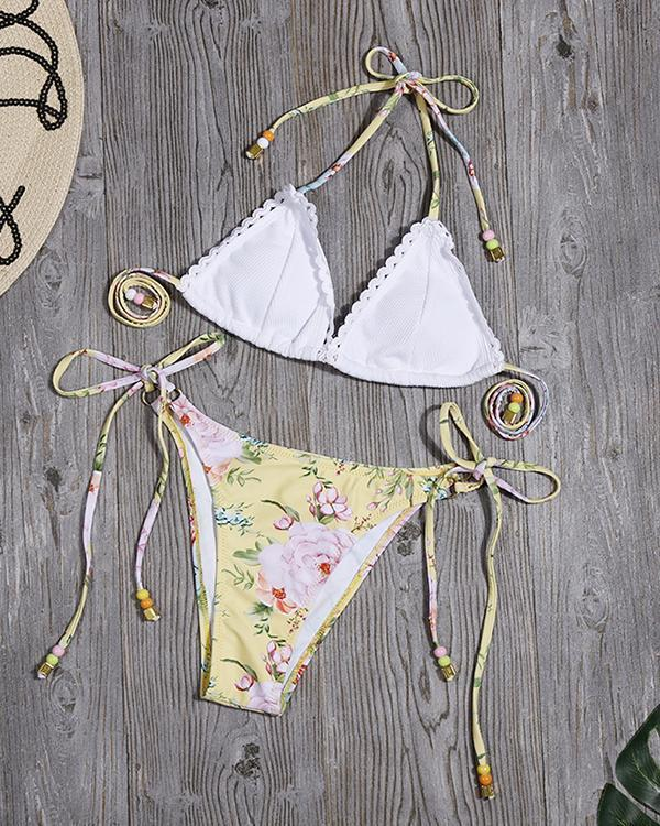 Printed Lace-up Bikini Split Swimsuit