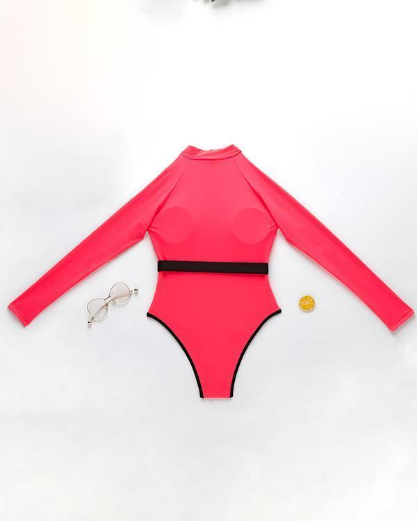 Long Sleeve Zipper One Piece Bathing Suit Swimwear