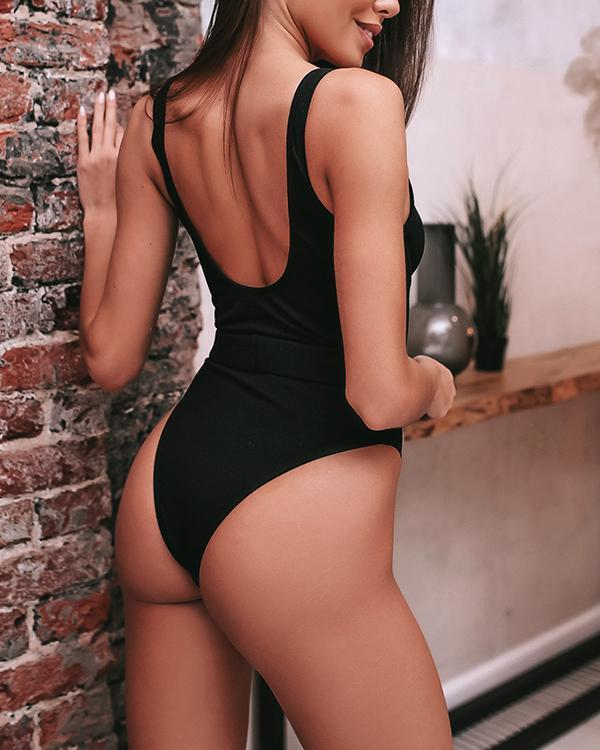 Solid Thin Strap Ribbed One Piece Swimsuit