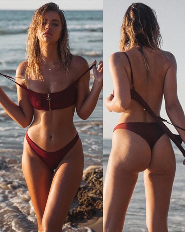 Split Bikini Fashion Zipper Swimsuit Bikini