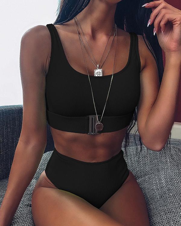 Textured Buckle Front High Waist Bikini Swimsuit