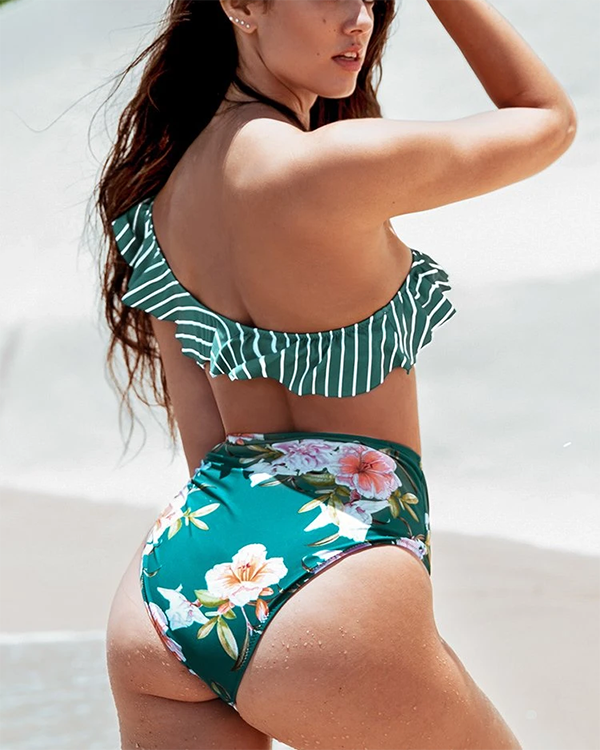 One-shoulder Ruffled Striped Swimsuit