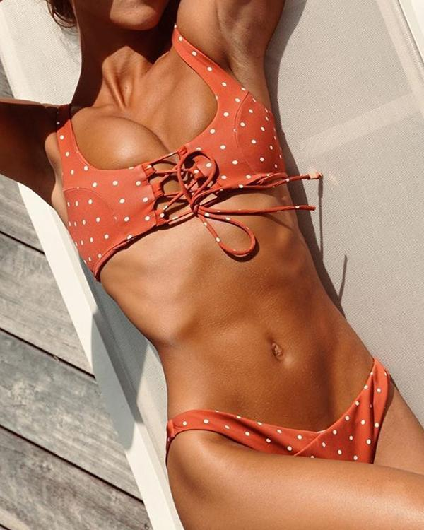 Sexy Dot Print Swimsuit Lace Up Bikini