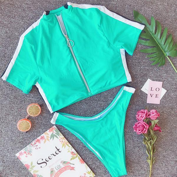 Sexy Zipper Short Sleeve Split Two-piece Swimsuit
