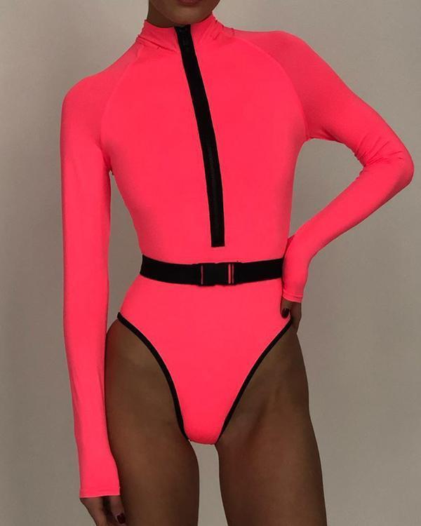 Long Sleeve Zipper One Piece Bathing Suit Swimwear