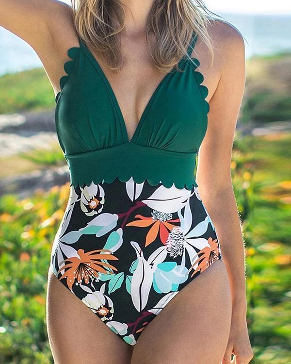 Two Piece Retro Halter Ruched High Waist One Piece Swimsuit