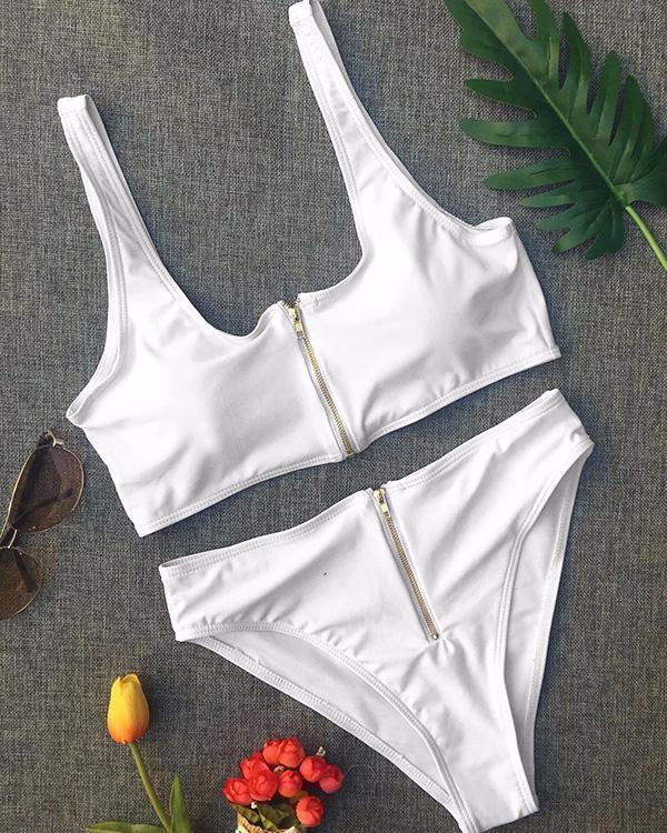 Solid Color High Waist Zipper Split Swimsuit