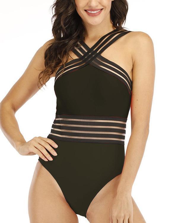 Sheer Stripe Swimsuit