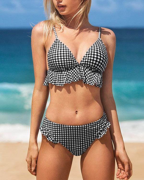 Sexy Plaid Bikini Ruffle Swimsuit