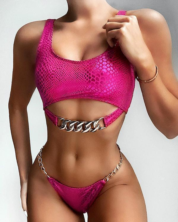 Snake-Print Chain Embellished Split Bikini Swimsuit