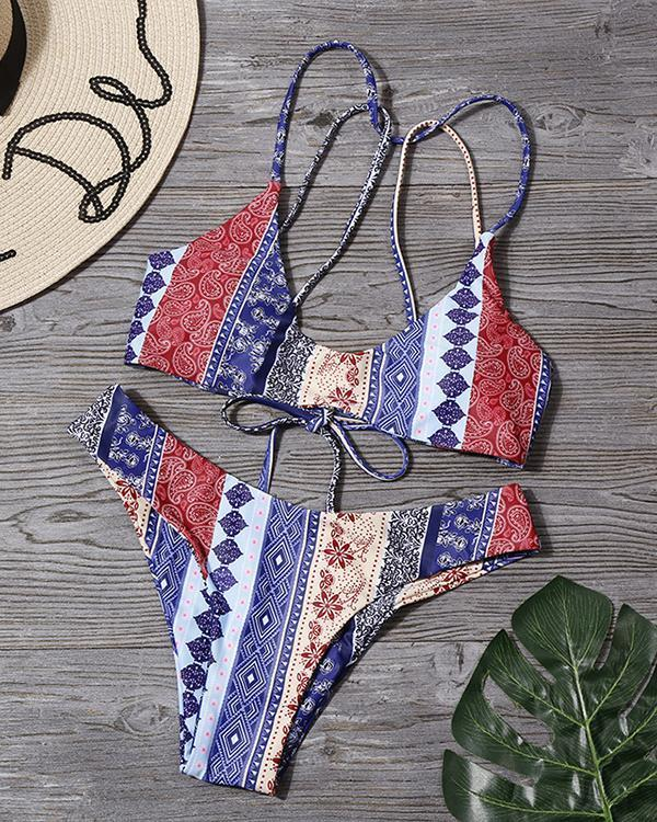 Stripe Print Bikini Swimsuit