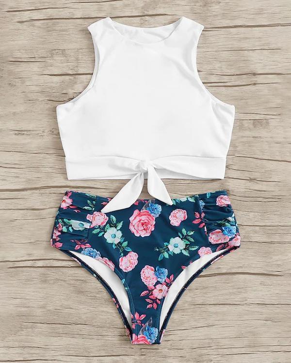 Print Bikini High Waist Split Swimsuit