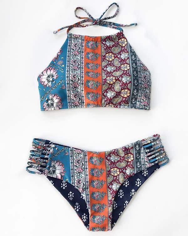 Women's Halter Bikini Set Cut Floral Print Swimsuit