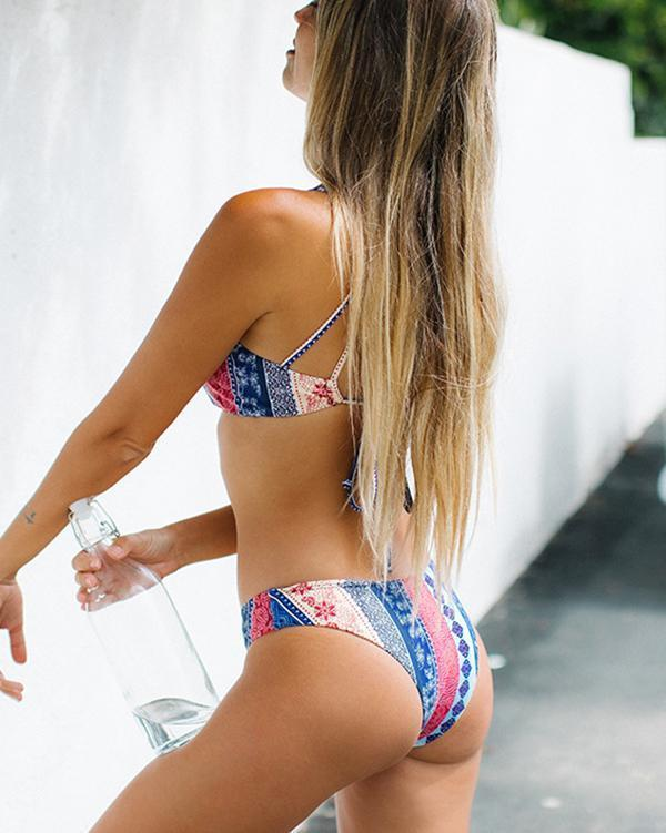 Stripe Print Bikini Swimsuit