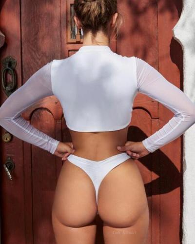 Tulle Long Sleeves Bikinis Swimwear