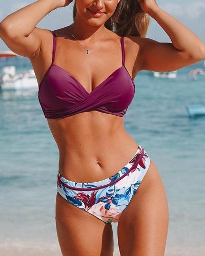 Printed Bikini High Waist Halter Swimsuit