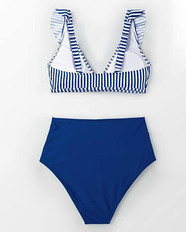 Stripe And High Waist Bikini Set