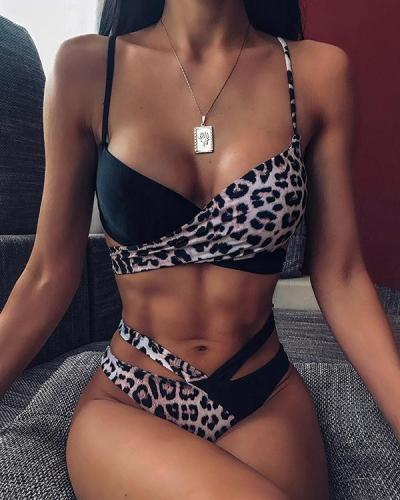 Two Tone Spaghetti Strap Knotted Bikini Set