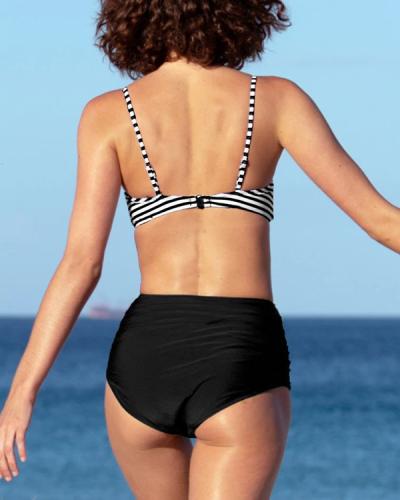 Stripe High Waist Bikini Suit