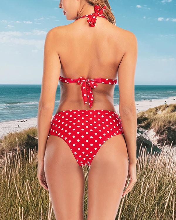 White Dots High Waist Lace-up Bikini Set
