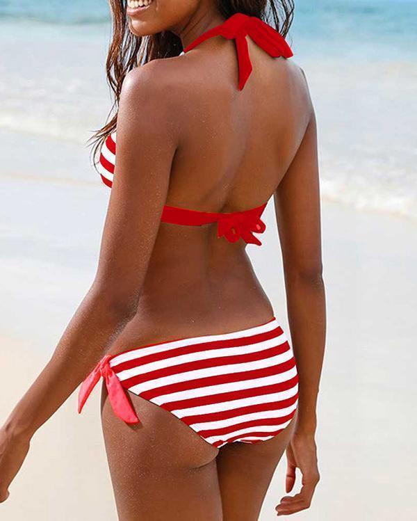 Stripy Cute Tie Front Bikini