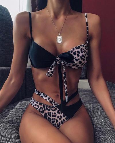 Two Tone Spaghetti Strap Knotted Bikini Set