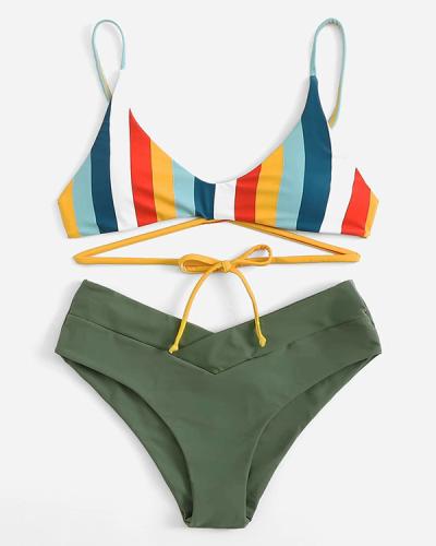Striped bikini set