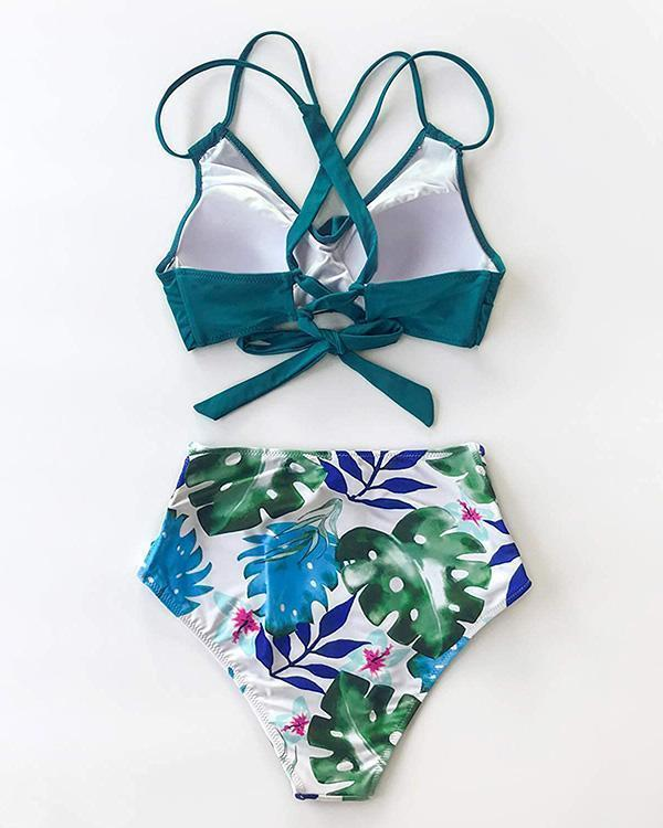 Tropical Palm Twist-front High Waist Bikini