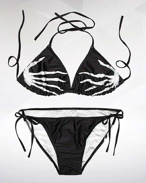 Skull Hand Printed Two Piece Bikini