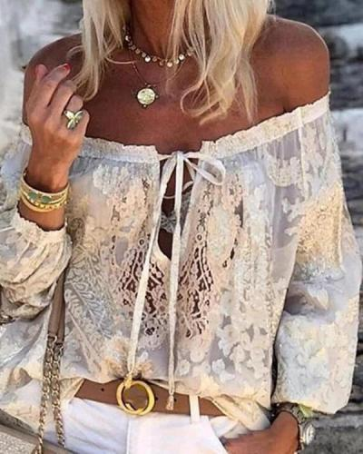 olid Lace Off the Shoulder Long Sleeves Casual Sexy Blouses