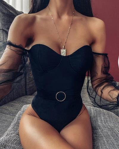 Solid color Mesh Long-sleeved One-piece Bikini