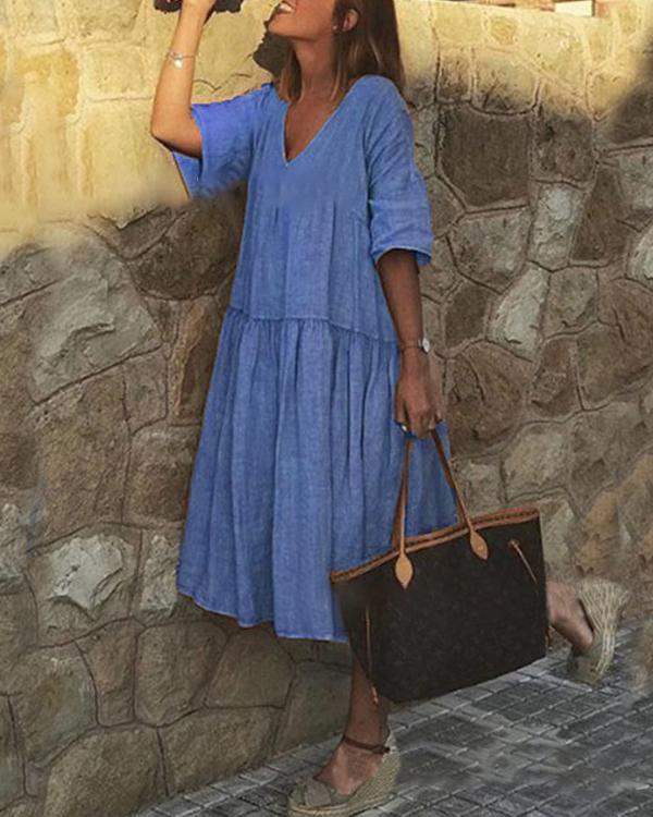 Casual Solid Color V-Neckline A-line Dress