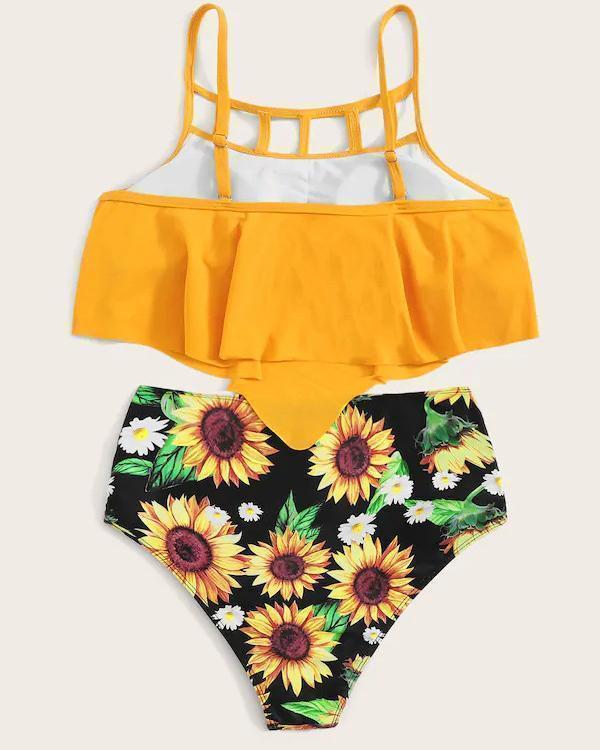 Sunflower Print Bikini Set