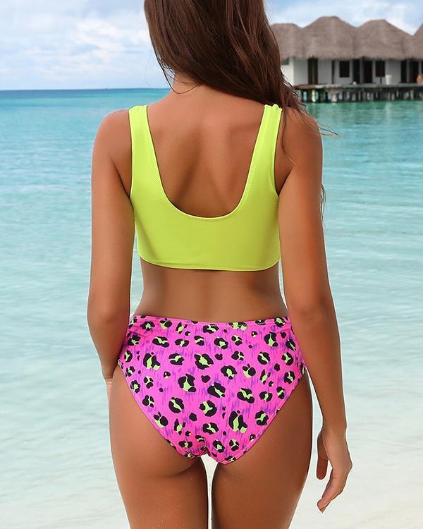 Half Print High Waist Bikini