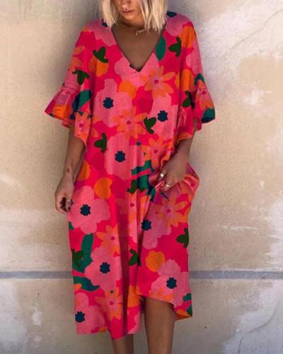 Printed Leaf Sleeve Casual Midi Dress