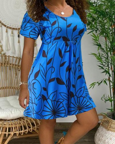 Floral O-Neckline Mini X-line Dress