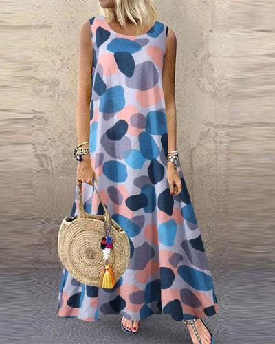 Womens Casual Loose Printed Round-Neck Sleeveless Long Dress