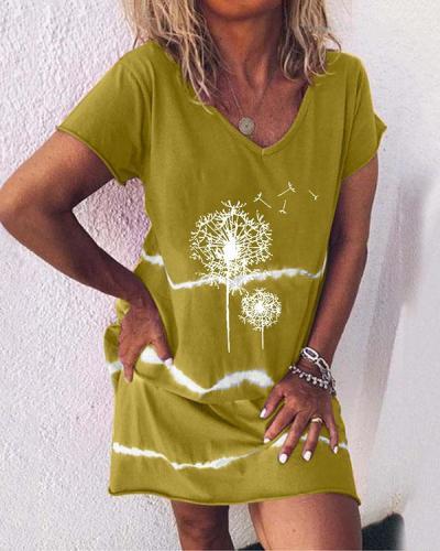 Casual Dandelion Printed Dresses