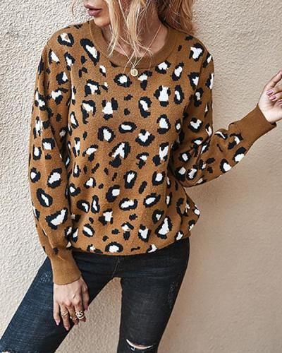 Leopard Casual Open Back Sweater