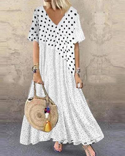 Bohemia Polka Dot Print Patchwork Plus Size Dress