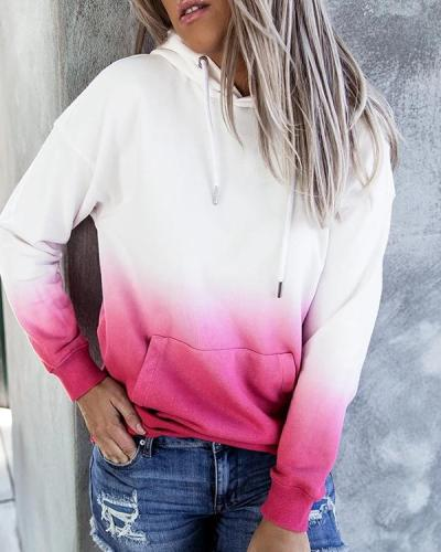 Women Casual Ombre Hoodie Sweatshirt