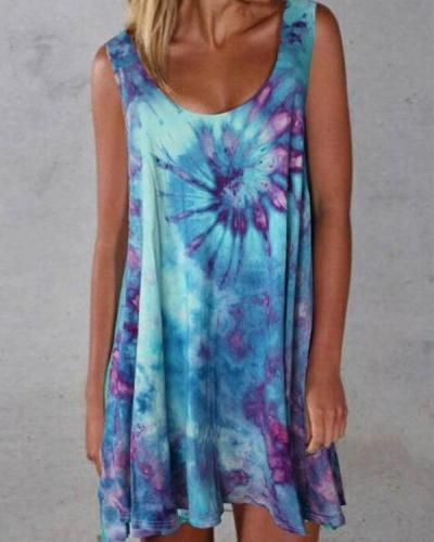 Summer Tie Dye Mini Women Dress