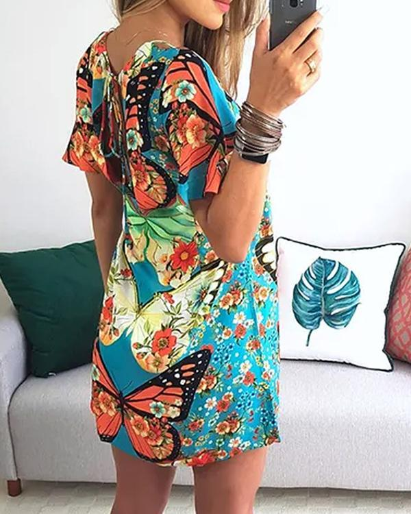 Casual Off Shoulder Sexy Printed Mini Dress