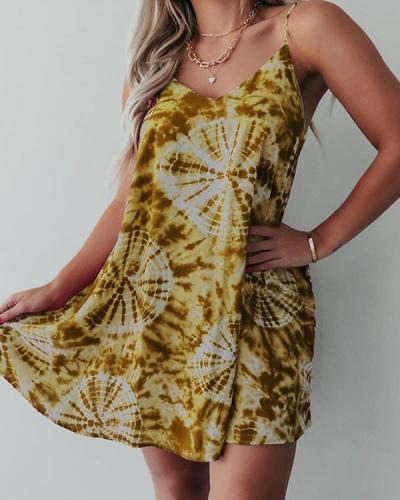Summer Tie Dye Casual Mini Dress