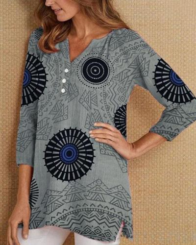 Fashion Print Casual Long Sleeve Top