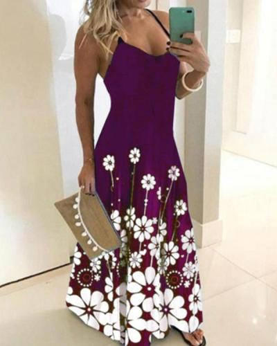 Women's Plus Size Floral Print Maxi long Dress
