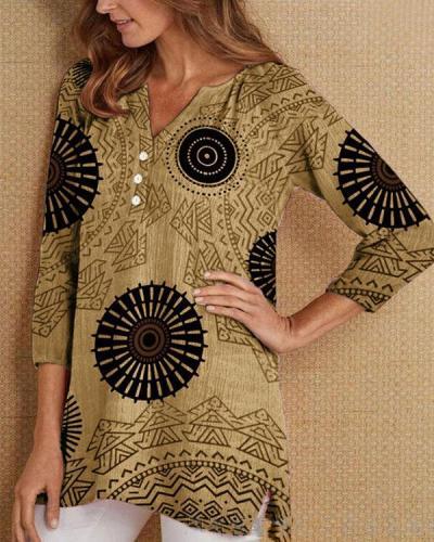 Fashion Print Casual Long Sleeve Top